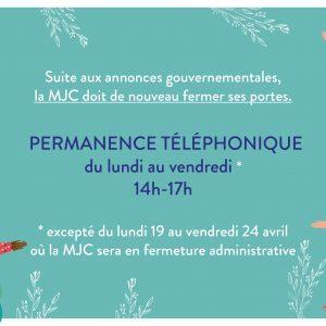 Fermeture temporaire de la MJC & permanence téléphonique